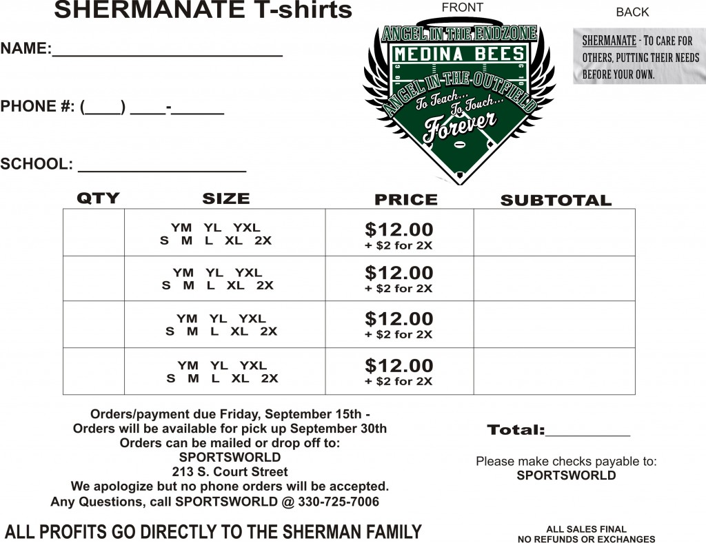 Shermanate TShirt Order Form Medina High School Sports Medina OH – T Shirt Order Form