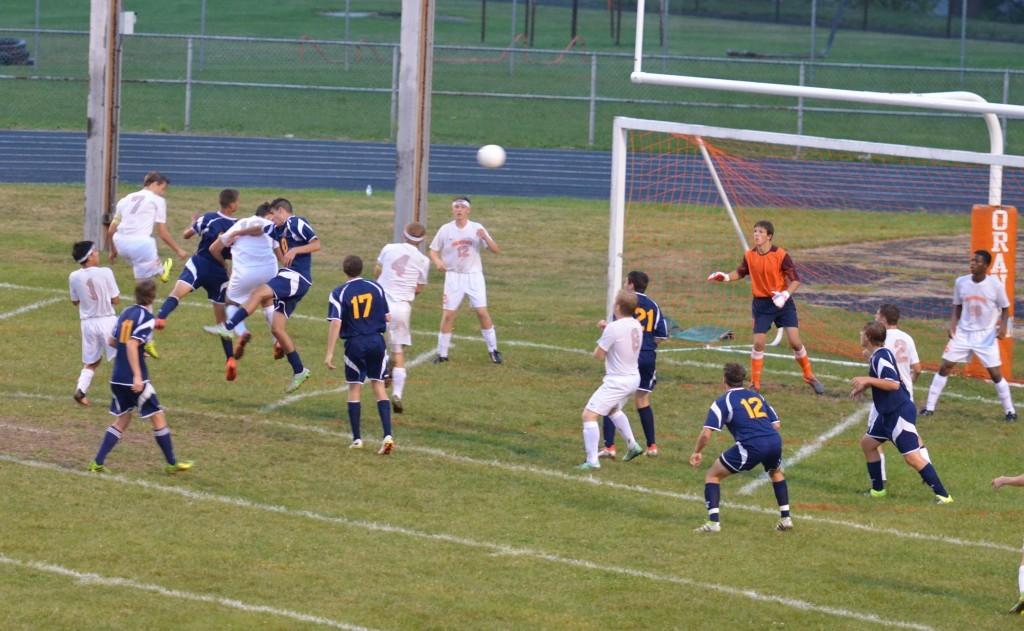 Justin Betts places header towards Ellet goal