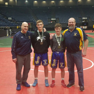 Nate Amato and Austin Pownall with coaches at the 2017 OAC Junior High State Tournament