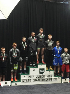 Austin Pownall, OAC Junior High State Tournament Champion, 138 lbs.