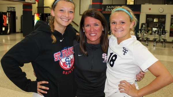 Coach Joan Johnson with Senior Captains  Cassidy Day and Sammie Zgutowicz