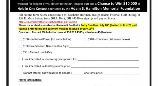 Football Golf Outing Registration