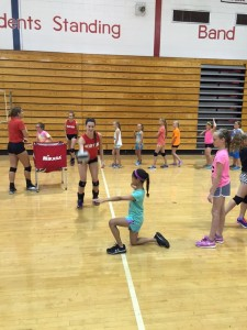 4th and 5th grade campers work on passing skills.
