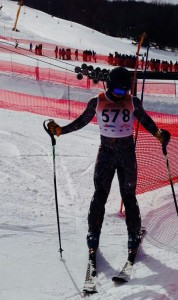 Matthew Urbik in the finish arena at State Meet after his slalom run.