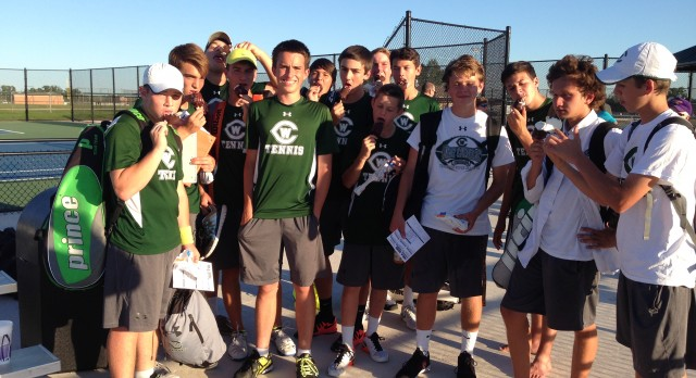 West Catholic High School Boys Varsity Tennis beat Coopersville High School 5-3
