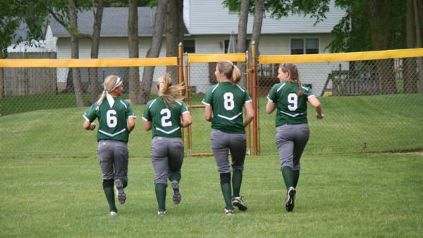 From Left to Right Seniors #6 Kristen Kimball, #2 Nicole Szymczak, #8 Anna Smith & #9 Lauren Zielinski