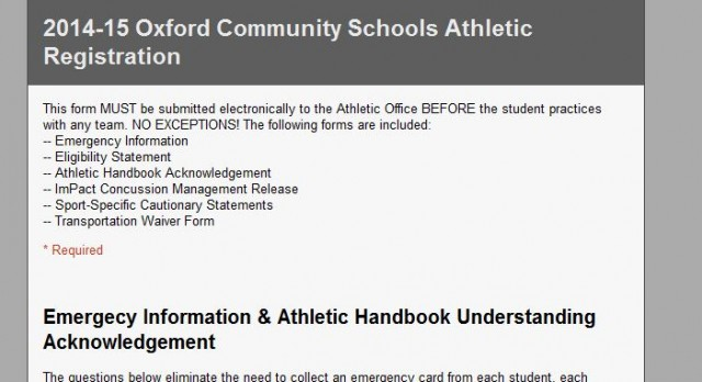 2014-15 Athletic Registration Now Open