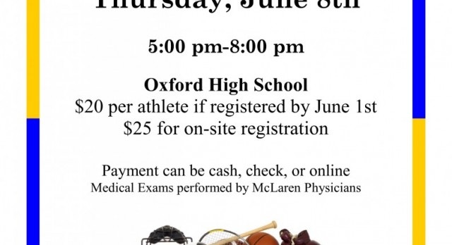 2017 Sports Physicals – June 8th