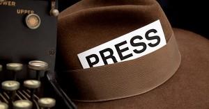 Newspaper Reporter's PressPass in Hat, White Background.