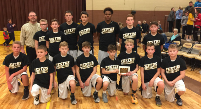 Seventh Grade Boys Basketball Team Takes Conference Crown With Victory Over Windsor