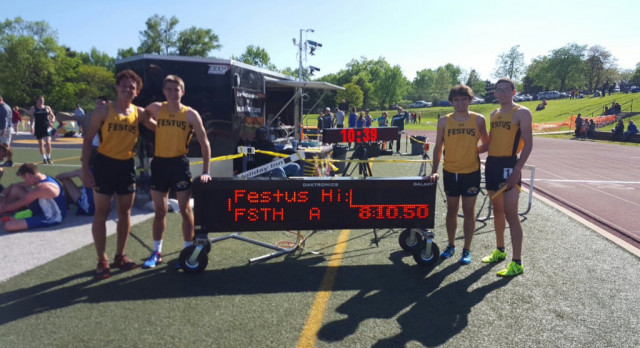 Festus Boys Track Place Second at Conference Meet; 4×800 Relay Team Sets Record