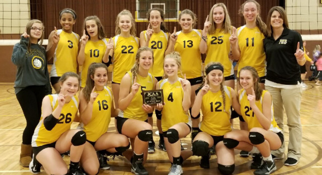 Eighth Grade Volleyball Beats Perryville & Windsor for Conference Title