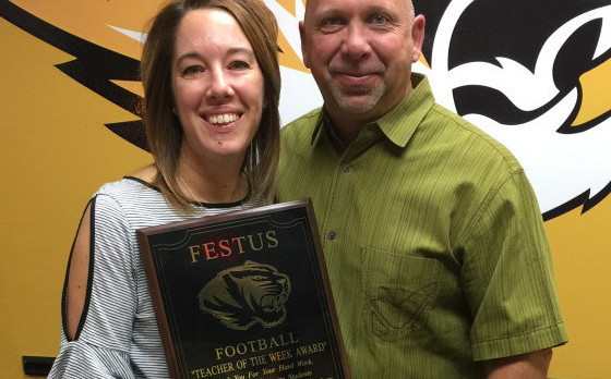 Mrs. Doyel is Chosen as Teacher-of-the-Week by Football Program
