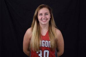 Senior Cassidy Matheson was one of three Dragons in double figures, scoring 10 points in a 75-19 victory over Scecina.