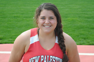 Lillie Cain won the shot put at the Lightning Bolt Relays.