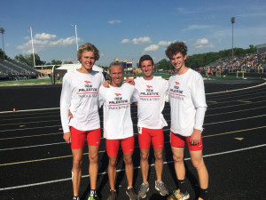 Sam Voelz, Chase Crowder, Caleb Eagleson and Spencer Corey won the 4x800 at the sectional. Voelz and Eagleson also won individual sectional titles.