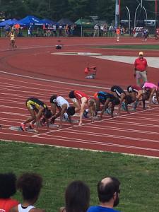 Jordan Reid in the starting blocks in the 100 meters.