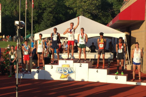 NPHS senior Spencer Corey celebrates his state championship in the 800 meters.