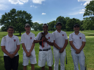 The New Palestine golf team at the regional.