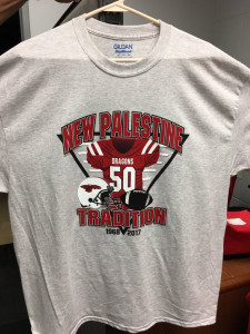 T-shirts celebrating 50 years of Dragon football are on sale in the athletic office for $10.