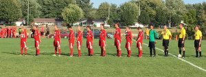 The New Palestine soccer team prior to Tuesday's game.