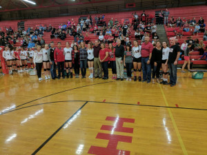 The New Palestine volleyball seniors.