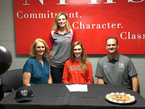Senior Allison Dennemann signs her letter of intent with the University of the Pacific.