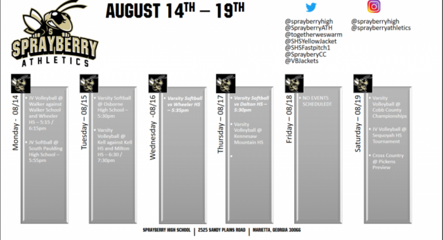Athletics Schedule for August 14-19th!