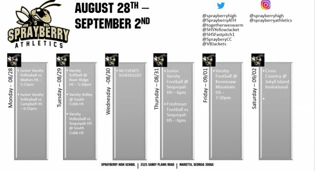 August 28 – September 2 Athletics Schedule!