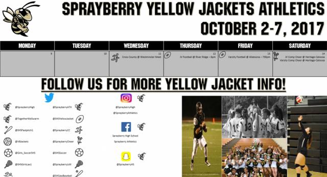 Athletics Calendar for 10/9-10/14!
