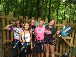 Warrior volleyball players at Go Ape! in Indianapolis