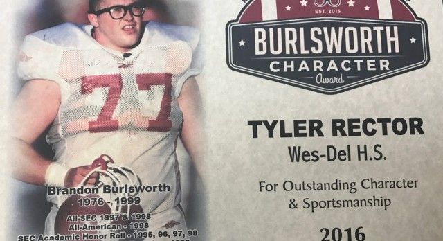 Wes-Del Football Player Recognized for Character and Sportsmanship