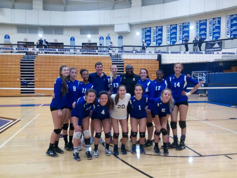 The Centennial High School Varsity Volleyball kept the Centennial Varsity  Open Volleyball Tournament trophy at home by beating Mountain View High  school in ...