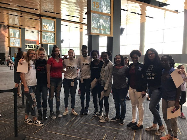 Lady Knights players with GT Women's Basketball players