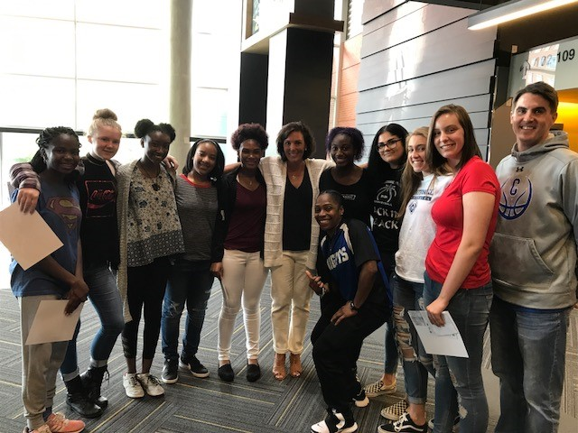 Lady Knights players with GT Women's Head Coach, MaChelle Joseph