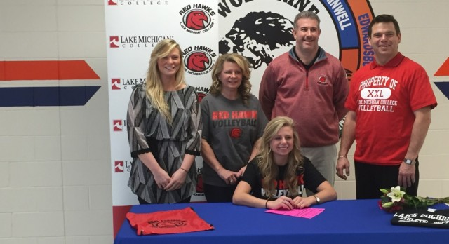 Payton Szlanfucht signs to play volleyball at Lake Michigan College