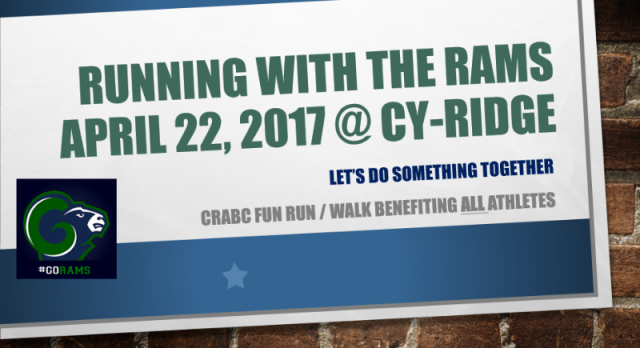 4/22 ~ RUN WITH THE RAMS!!!