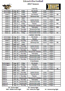 2017 All-Teams Schedule