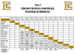 2017 Master Schedule
