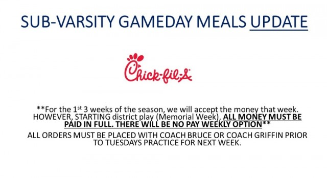 Game Day Meal Update