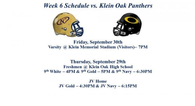 Klein Oak Week Schedule