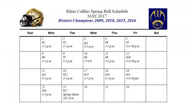 Klein Collins Spring Football Schedule