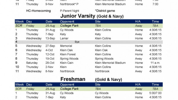 Collins Football Schedule 2017 15-6A