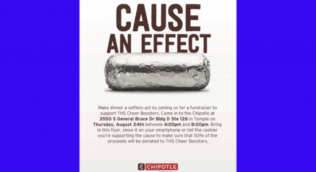 THS Cheer has Chipolte fundraiser on Thursday