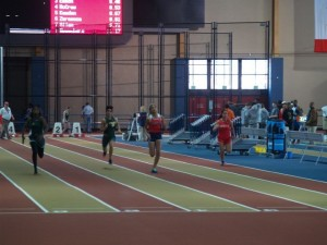 Hunter Midgett won her heat of the 60m and was a part of the nationally ranked 4x200m relay team.