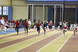 Teverius Lindsey competing in the finals of the 60m