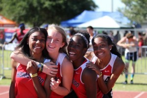 Elysa Griffin, Ann Mosely Whitsett, Joy Korley, and Hunter Midgett ended the incredible meet for the girls by winning the 4x400m relay.
