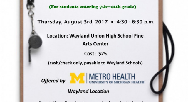 Sports Physicals 2017