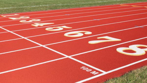 100 Meter Start Line on Red Eight Lanes Running Track