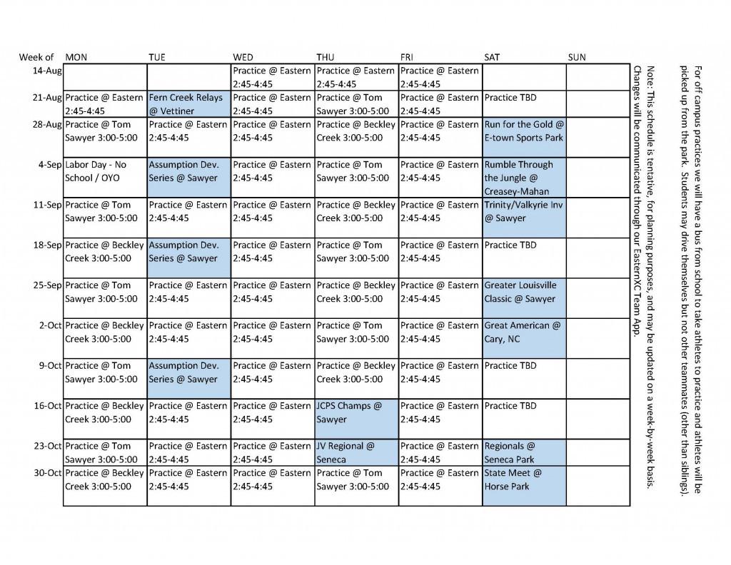 XC 2017 Practice Schedule